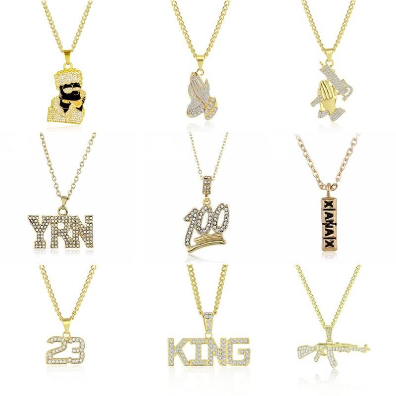2019 Hip Hop Jewelry Women Men Gold Long Chain Necklaces Unisex Hiphop Bling Gun AK47 Letter Xanax Pill Pendant Necklace Gifts Necklaces