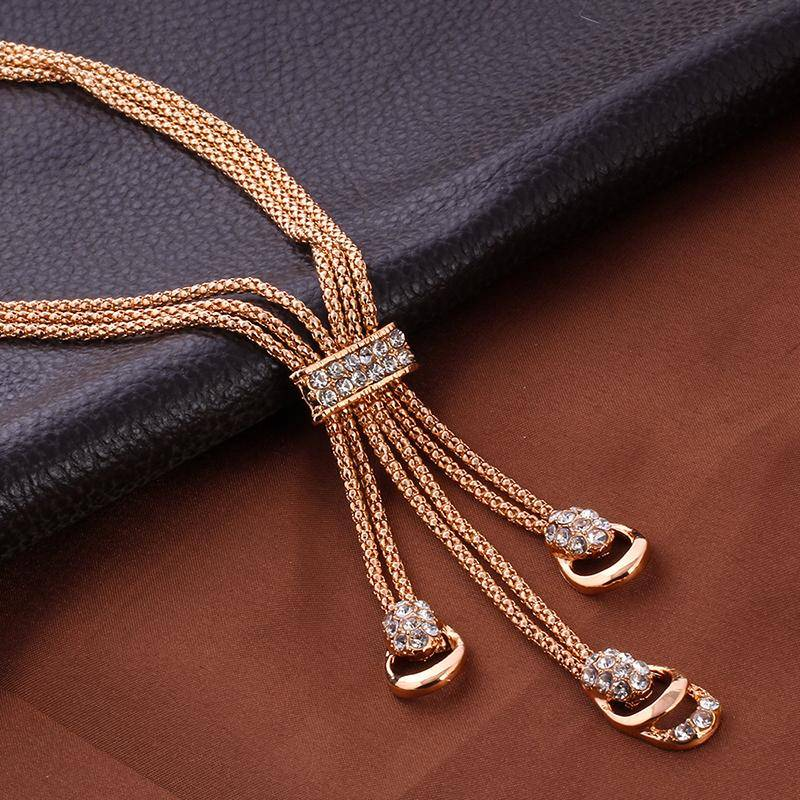 Rose Gold Color Crystal Necklace Earring Bracelet Ring Set Rhinestone New Simple Party Dress Jewelry Sets For Women Jewelry Set