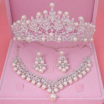 jewelery sets New Design Rhinestone Choker Necklace Earrings Tiara Bridal Women Wedding Jewelry Set Jewelry Set Wedding & Engagement Jewelry