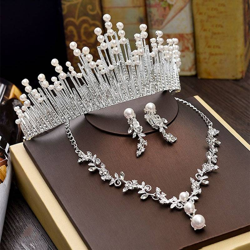 Luxury Bridal Necklace Wedding Jewelry Sets for Brides Jewellery Pearl Tiara Crown Earrings Set Birthday Party Women Accessories Jewelry Set Wedding & Engagement Jewelry
