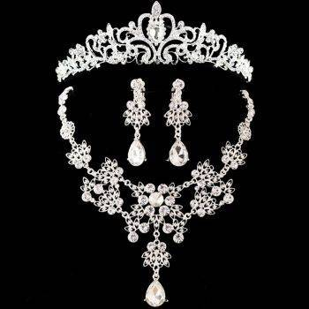 Noble Crystal Bridal Jewelry Sets Hotsale Silver Fashion Wedding Jewelry Tiara Necklace Earrings for Brides Bridesmaids Jewelry Set Wedding & Engagement Jewelry