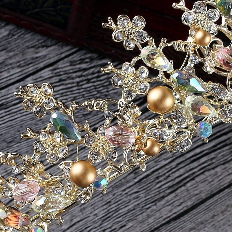 Luxury Pink Gold Pearl Bridal Crowns Handmade Tiara Bride Headband Crystal Wedding Diadem Queen Crown Wedding Hair Accessories Jewelry Set Wedding & Engagement Jewelry