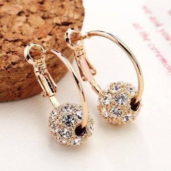 Fashion Austrian Crystal Ball Gold/Silver Earrings High Quality Earrings For Woman Party Wedding Jewelry Boucle D'oreille Femme Earrings