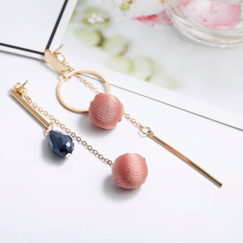 Fashion Long Tassel Dangle Drop Earrings For Women Unique Asymmetric Earrings Temperament Wedding Pink Earrings Trendy Jewelry Earrings