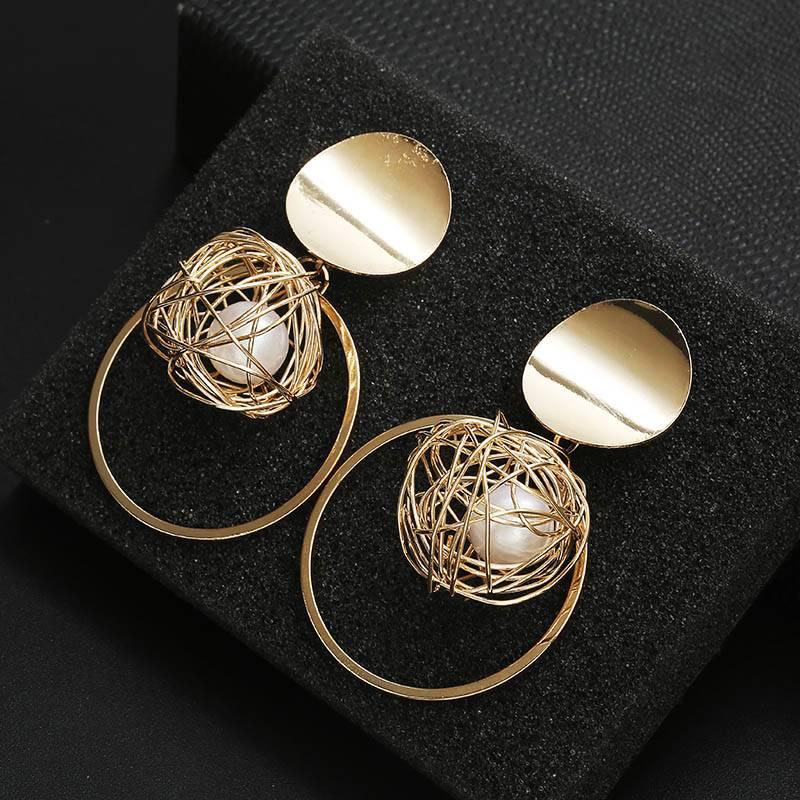 Golden Statement Earrings 2018 ball Geometric Earrings For Women Round Dangle Earrings Drop Modern Art Fashion Party Jewelry Earrings