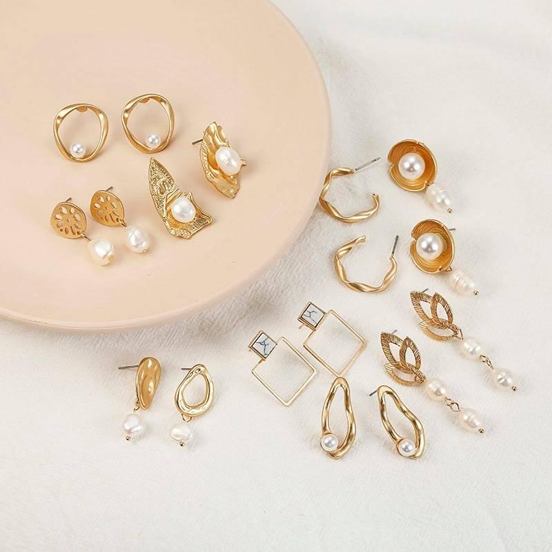 F35 Vintage Irregular Freshwater Pearl Dangle Earrings For Women Brincos Geometric Drop Earring DIY Wedding Party Jewelry Gift Earrings