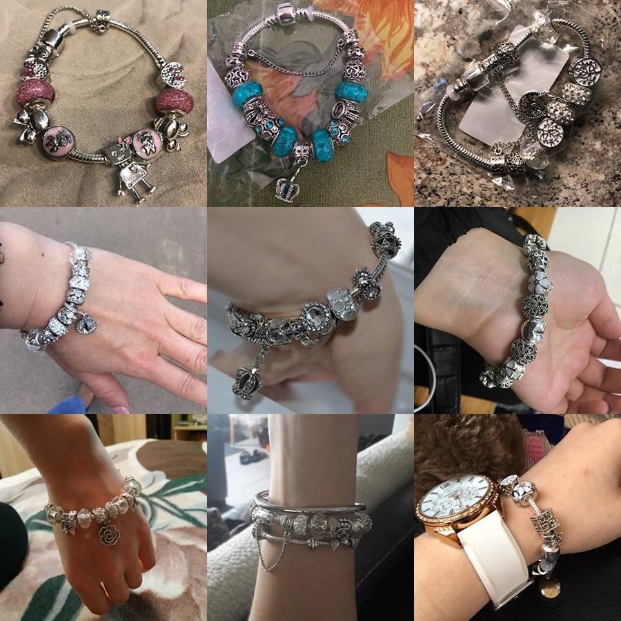 925 Fashion Silver Charms Bracelet Bangle For Women Crystal Flower Beads Fit Pandora Bracelets Jewelry Bracelets