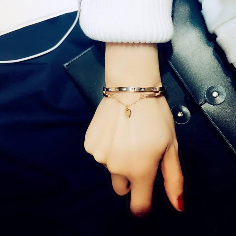 Luxury Rose Gold Stainless Steel Bracelets Bangles Female Heart Forever Love Brand Charm Bracelet for Women Famous Jewelry Bracelets