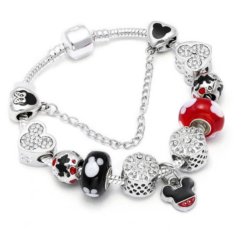 Animal Mickey Charm Bracelets & Bangles Women Jewelry Minnie Pink Bow-Knot Pendant Pandora Bracelet DIY Handmade for Girl Gift Bracelets