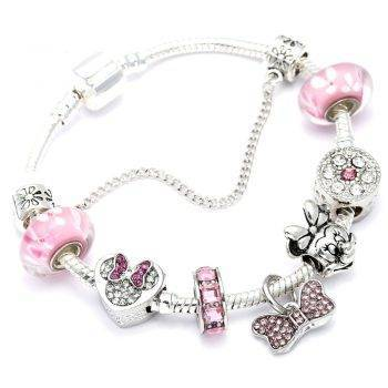 Animal Mickey Charm Bracelets & Bangles Women Jewelry Minnie Pink Bow-Knot Pendant Pandora Bracelet DIY Handmade for Girl Gift Bracelets