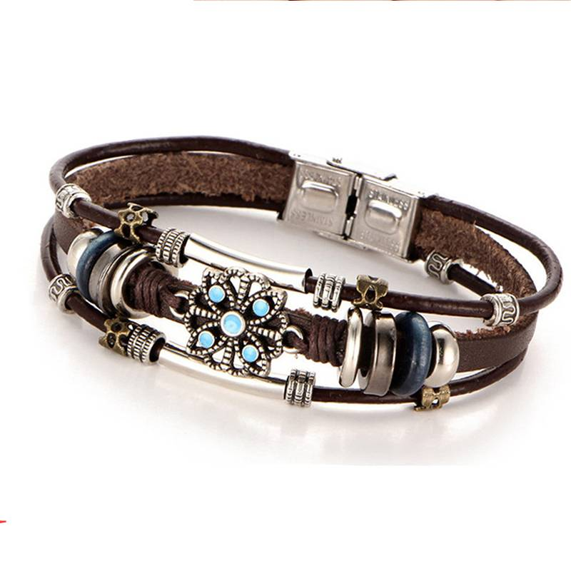 Style Vintage Flower Bracelets & amp; Bangle Boho Multiple Layers Leather Bracelet Handmade Female Punk Jewelry for Women Man Bracelets