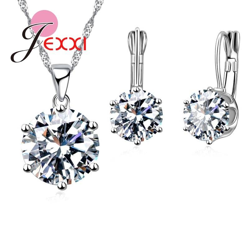 Luxury Jewelry Sets 925 Sterling Silver Earring+Pendant Necklace Set Women Anniversary Gifts Jewelry Set