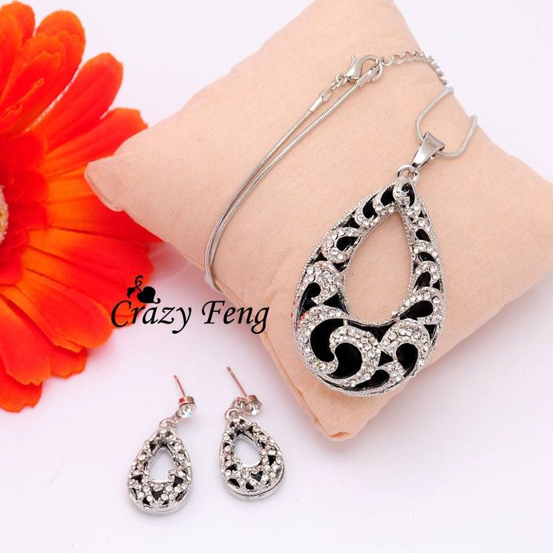 Crazy Feng Women's 2 Colors Austrian Crystal Water Drop Pendant Chain Necklace + Earrings Jewelry Sets Free shipping Jewelry Set