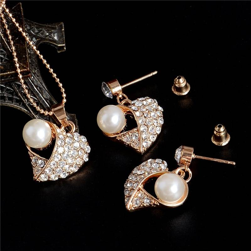 Elegant Simulated Pearl Bridal Jewelry Sets Gold Silver Plated Leaf Crystal Chocker Necklaces Earrings Sets Wedding Jewelry Jewelry Set