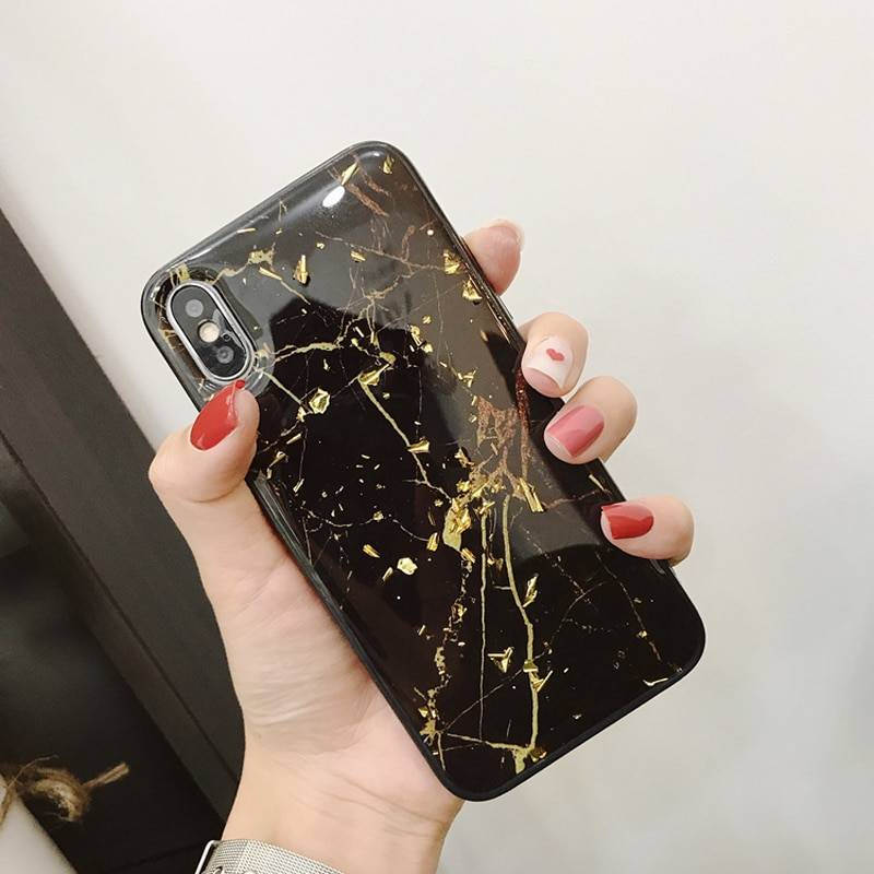 Luxury Gold Foil Bling Marble Phone Case For iPhone X XS Max XR Soft TPU Cover For iPhone 7 8 6 6s Plus Glitter Case Coque Funda iPhone Case