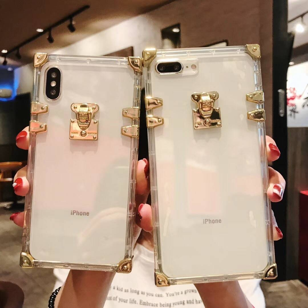 Fashion Square Clear TPU Case for iPhone X XS MAX XR Luxury Bling Metal Conch Pink Back Cover Case for iPhone 6 6s 7 8 Plus iPhone Case