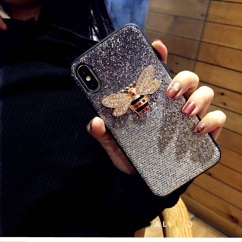 Luxury Metal Diamond Bee Glitter phone case for iphone X XR XS MAX 7 8 6 6S plus Cover for samsung galaxy S8 S9 Note 9 coque iPhone Case