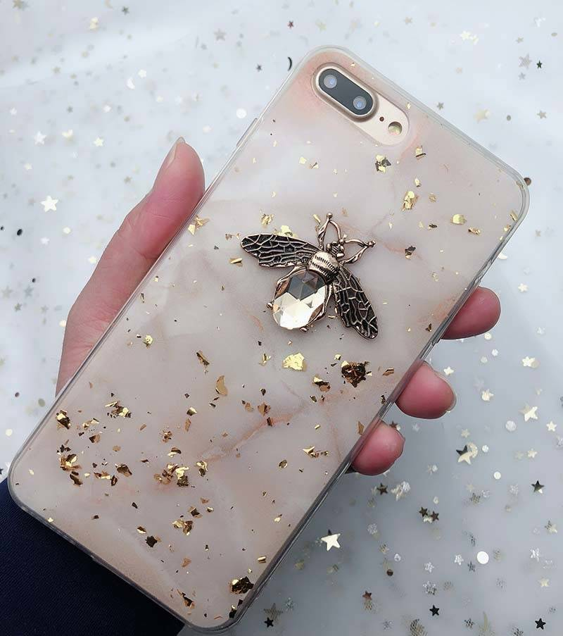 Gold Foil Bling Marble Cases For iPhone X XS XR Max 3D Metal Bee Soft TPU Case Cover For iPhone 7 8 6S Plus Glitter Back Fundas iPhone Case