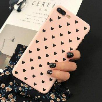 Cute Heart Lovers Phone Case For iphone 5S 5 SE Case For iphone 6 S 7 7Plus 6S 8Plus X XS Max Xr Hard Black Pink Couple Coque iPhone Case