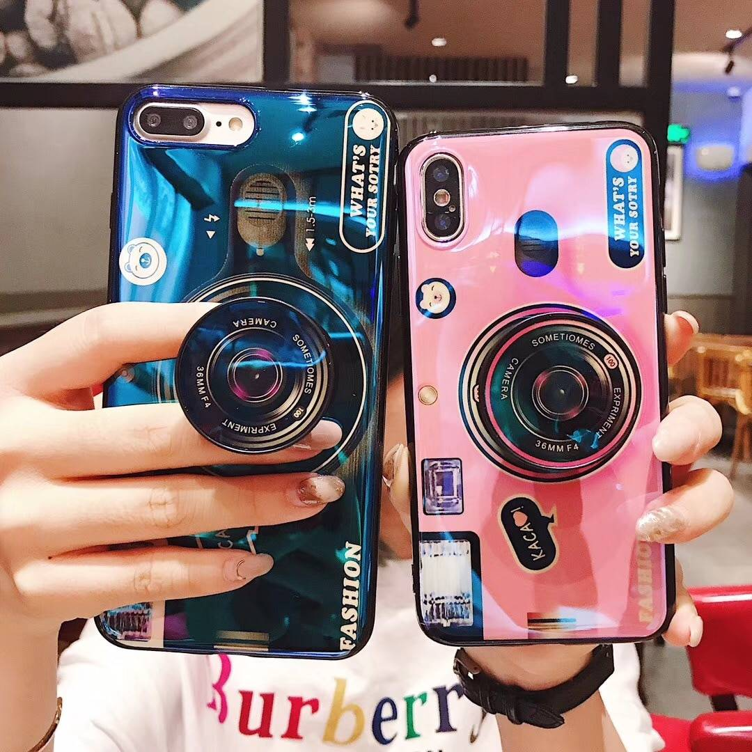 For iPhone X 8 7 Plus Case 3D Camera Blue Ray Phone Cover For iPhone XR XS Max 6 6S 7 8 For Samsung Galaxy S8 S9 Plus Note 8 9 iPhone Case