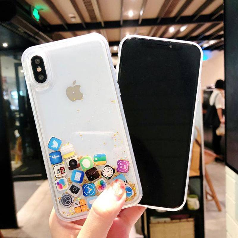 Case For iPhone 7 7Plus 8 8Plus 6s Plus Dynamic Liquid Hard PC Case For iPhone 5 SE X XR XS Max App Capa ipone iPhone Case