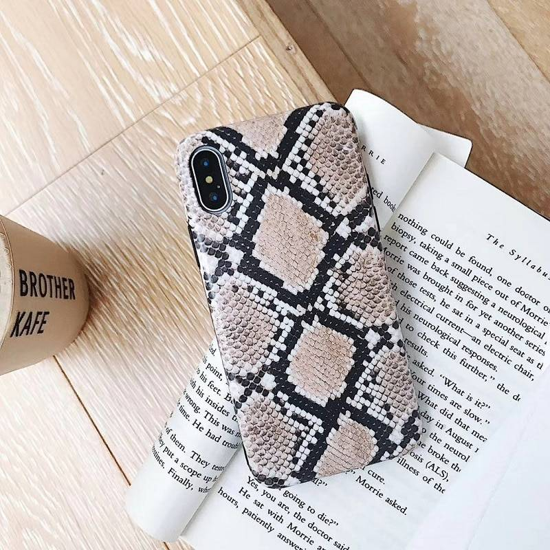 Vintage snake skin phone case for iphone XS Max Matte soft tpu case for iphone X XR XS 6 6s 7 8 plus back cover capa iPhone Case