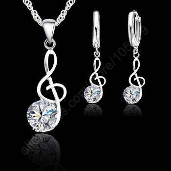 Musical Note Necklaces & Pendants Wedding Jewelry Elegant Women 925 Sterling Silver Crystal Necklace Earrings Gifts Jewelry Set