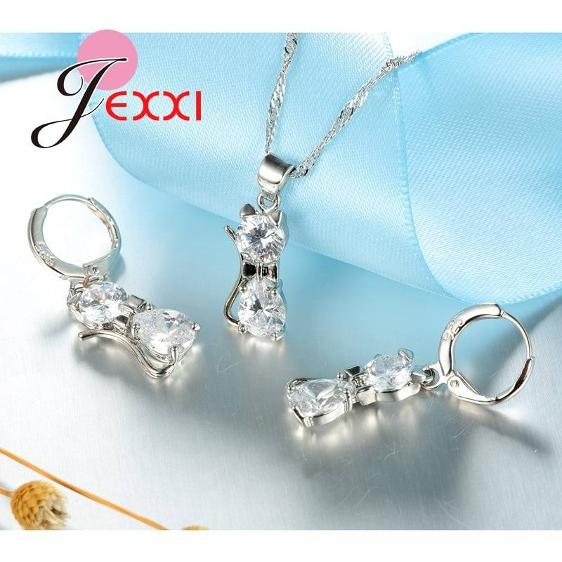 Jewellery Sets Accessories Genuine 925 Sterling Silver Cubic Zirconia Cat Kitty Necklace Pendant+Leverback Earrings Hot Jewelry Set