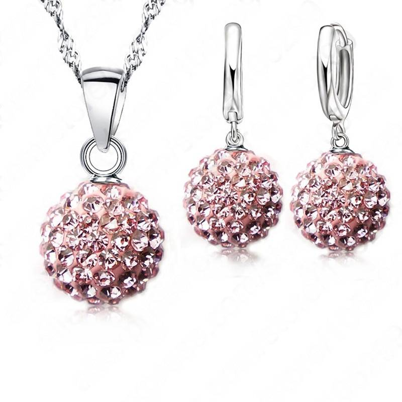 Crazy New Jewelry Sets 925 Sterling Silver Austrian Crystal Pave Disco Ball Lever Back Earring Pendant Necklace Woman Gift Jewelry Set