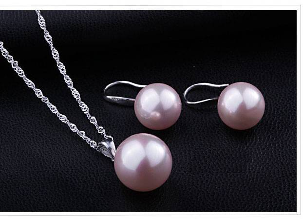 Classic Bridal Jewely Set Pure Genuine 925 Sterling Silver Freshwater Pearl Pendant Necklace Earring Women Party Gift Jewelry Set