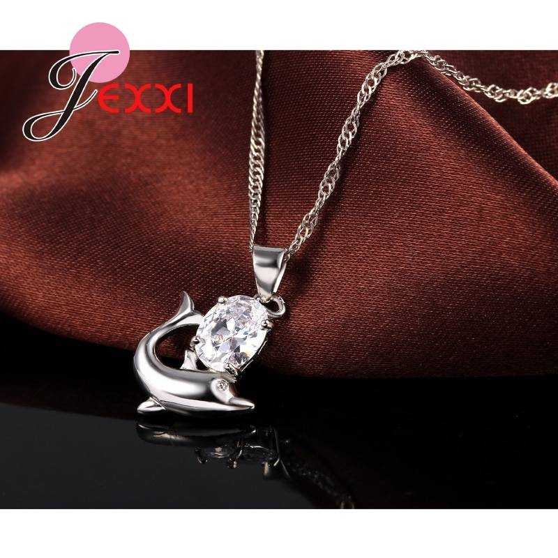 Fashion Austrian Crystal Jewelry Set 925 Sterling Silver Sweet Dolphin Pendant Necklace Loop Earrings Sets for Women Jewelry Set