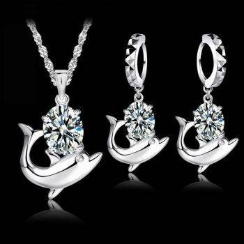 Fashion Austrian Crystal Jewelry Set 925 Sterling Silver Sweet Dolphin Pendant Necklace Loop Earrings Sets for Women Jewelry Set