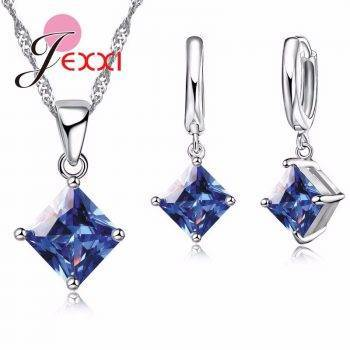 Elegant Blue Crystal Wedding Jewelry Sets Fine 925 Sterling Silver Pendant Necklace And Earring Set For Women Bijoux Jewelry Set
