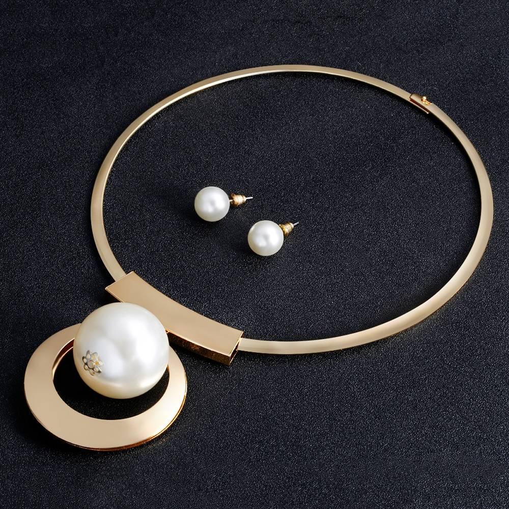 Bohemia Imitation Pearl Jewelry Sets Gold Color Big Beads Choker Necklace Earrings African Women Wedding Party Gifts Jewelry Set