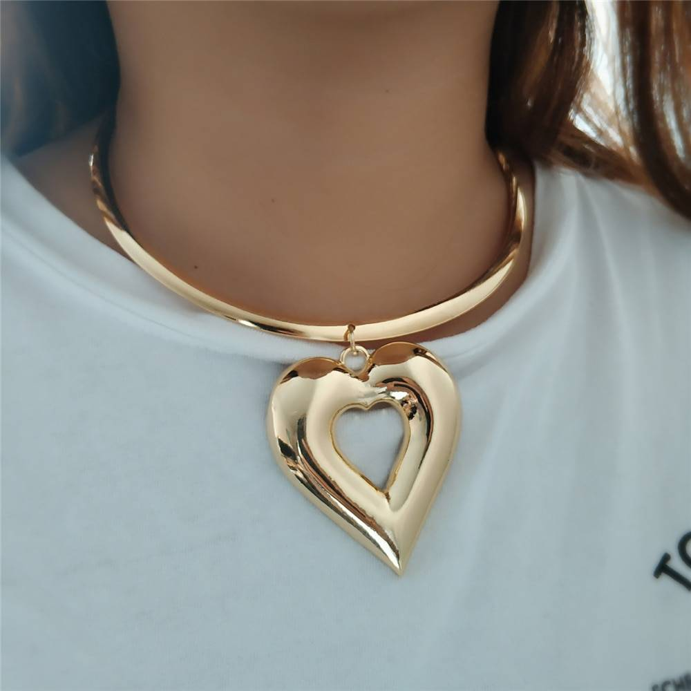 Trendy Heart Metal Jewelry Sets Gold Color Zinc Alloy Boho Choker Necklace Earring African Women Wedding Accessory Gift Jewelry Set