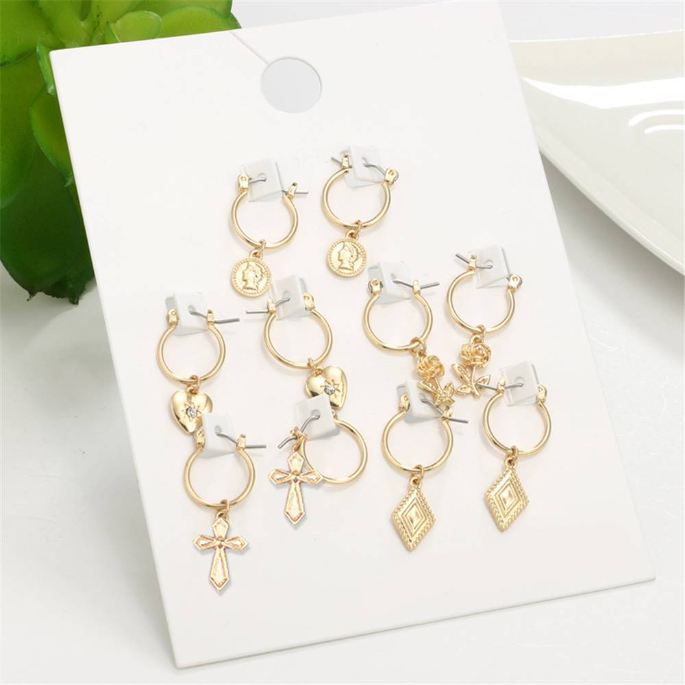 Fashion 5pairs Circle Round Hoop Earrings Women Gold Color Heart Queen Rose Crystal Hiphop Brincos Boho Jewelry Gifts Earrings