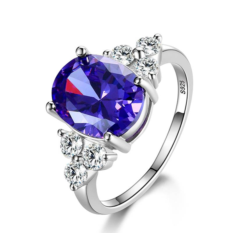 Multicolor Women's Rings With Oval Gemstone Topaz Stones 925 Sterling Silver Jewelry Ring Wedding Party Christmas Gift Rings