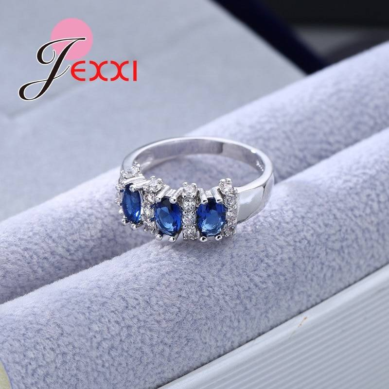 Fine 925 Sterling Silver Blue Sapphire Wedding Engagement Rings For Women Anillos Bijoux Bague Femme Rings