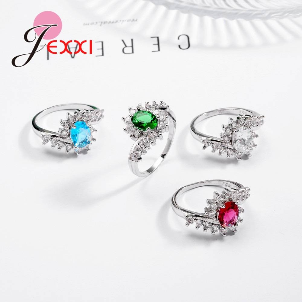 Fashion Ripple 925 Sterling Silver Europe America New Drop Shape Crystal Zircon Ring Jewelry Small Crystal Rings