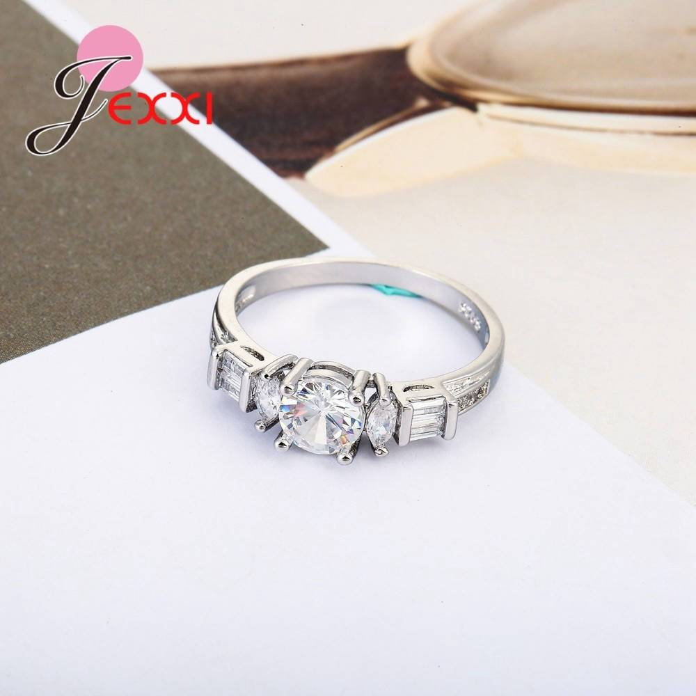 Fashion 925 Sterling Silver Five Large Zircon Bare Stone Rings Jewelry Party Marriage Engagement Ring Big Promotion Rings