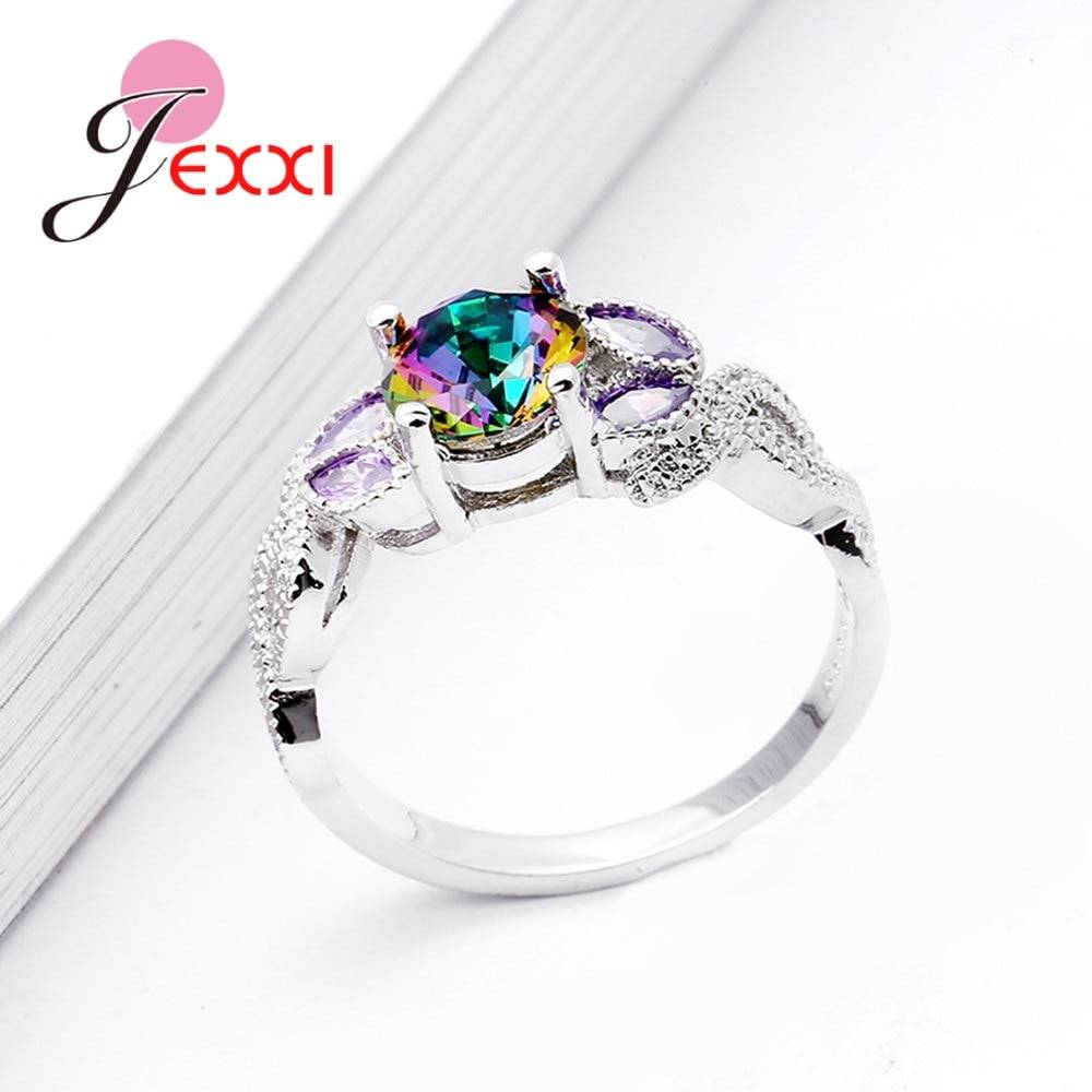 Hot Selling Clear Purple Round Cubic Zirconia Irregular 925 Sterling Sliver Rings Beautiful Anniversary Ring For Ladies Rings