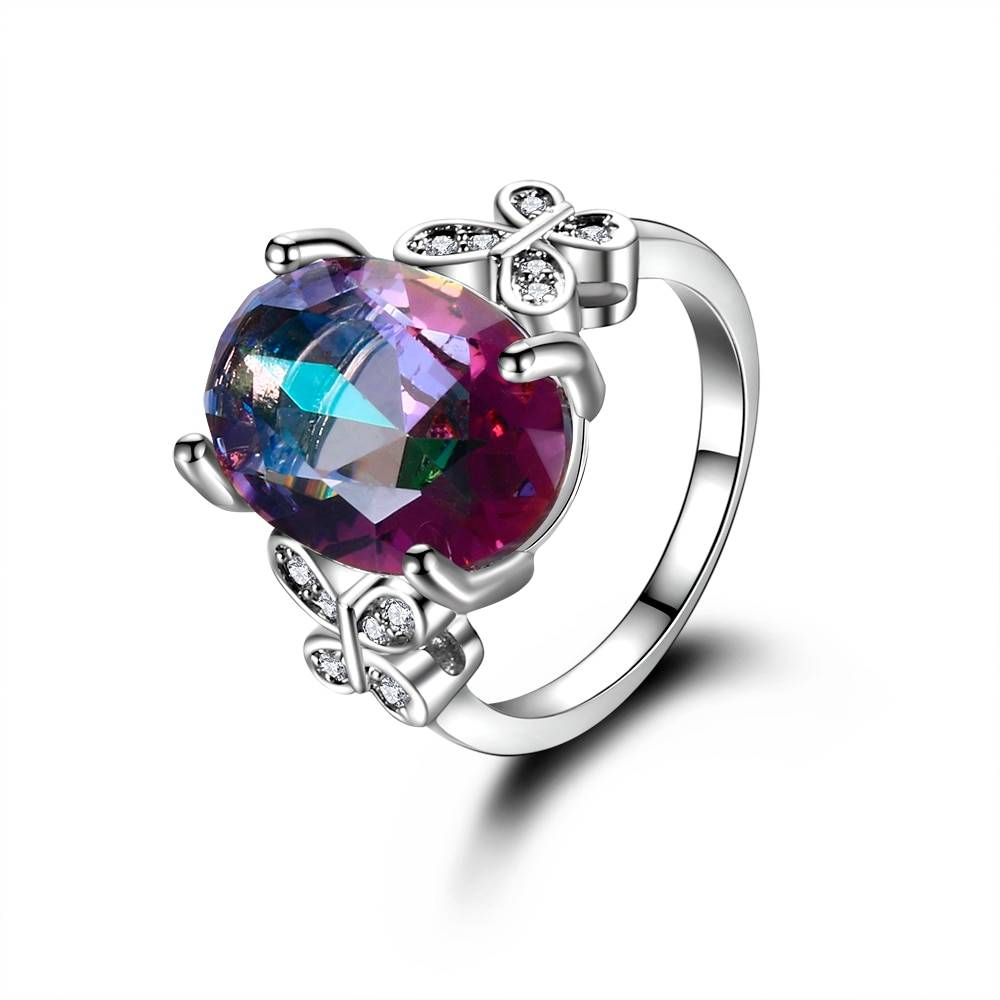 Fashion Multicolor Gemstone Wedding Rings High Quality Spine Ring For Sale Women's Silver 925 Jewelry Ring Size 5-10 7 Colors Rings