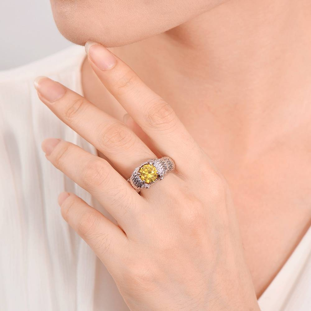 925 Sterling Silver Owl Charm Rings for Women Yellow Oval Citrine Cubic Zirconia Stones Jewelry ring Bague Rings