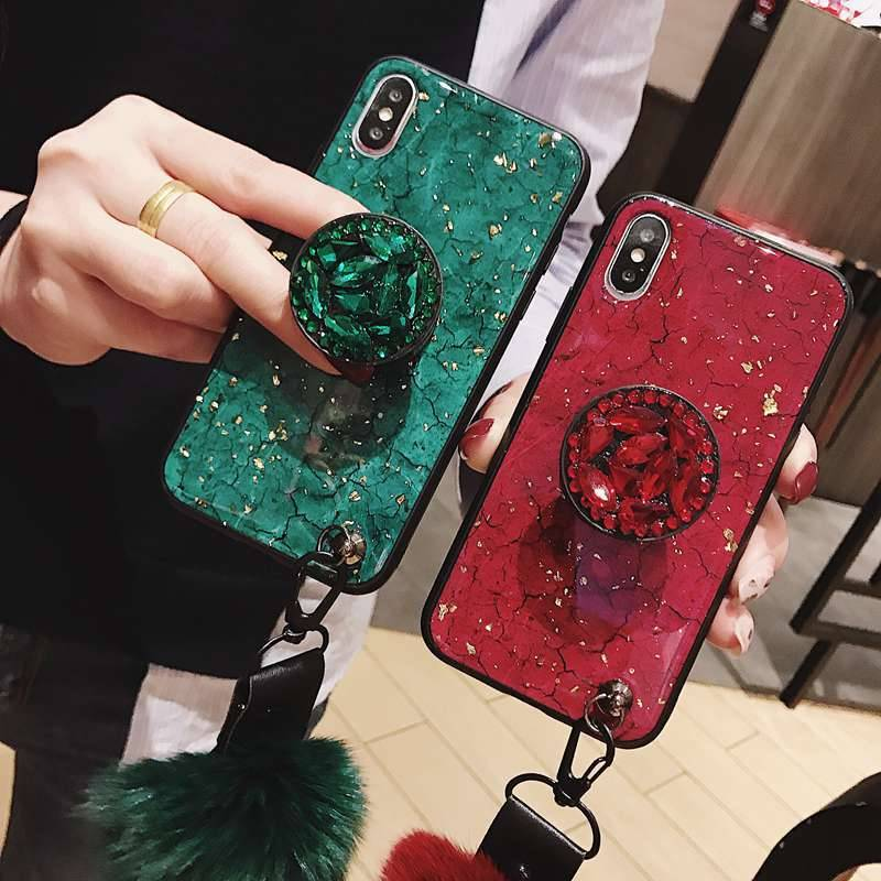 Luxury Diamond Marble Glitter Phone Cases for iPhone X XR XS MAX 7 8 6s Plus holder Ring Silicon Cover For iPhone XR XS iPhone Case