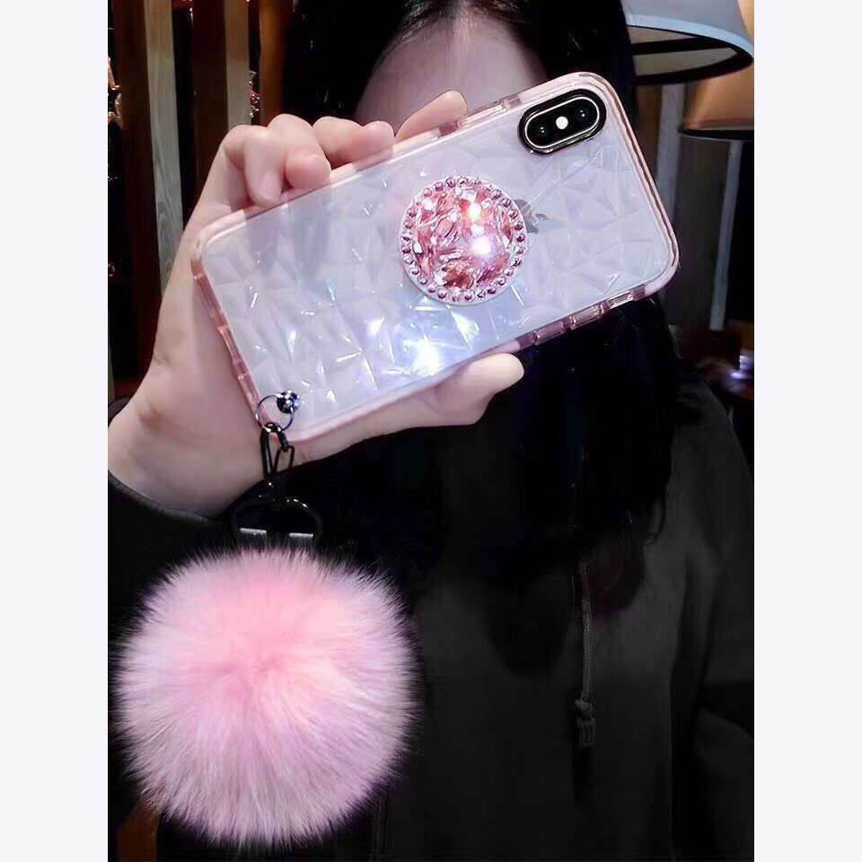 Crystal Bracket CZ diamond Strap Cover For iphone X 6s 7 8Plus XS MAX XR Phone Case Soft TPU Clear Coque iPhone Case