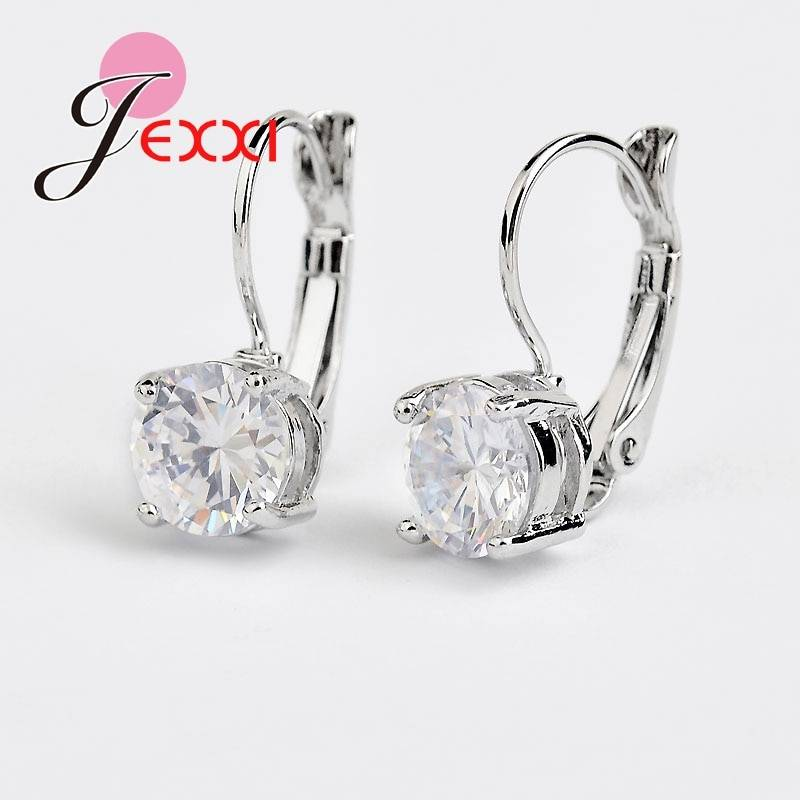 925 Sterling Sliver Fashion Jewelry Shining Micro Clear Crystal Silver Clip Earrings For Women Party Factory Price Earrings