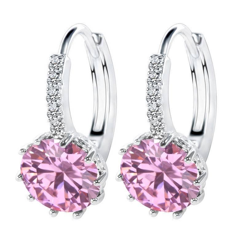 Women Female 925 Sterling Silver AAAAA Cubic Zirconia Lovers Best Gifts Hot Sale Earrings