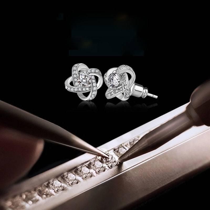 Crystal Earrings 925 Sterling Silver Knot Flower Stud Earrings for Women Brincos Bijoux Wedding Jewelry Earrings Wedding & Engagement Jewelry
