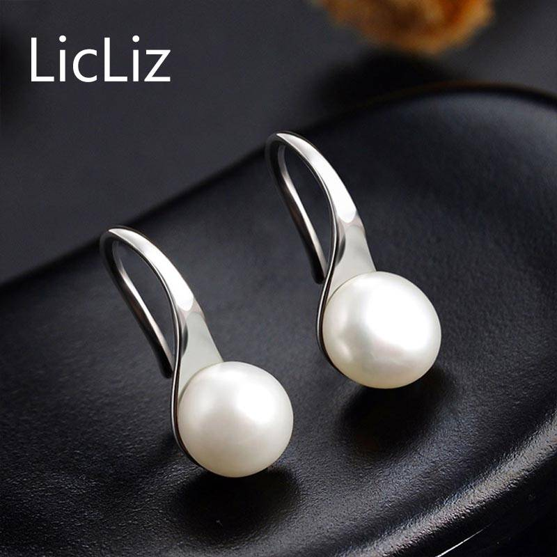 925 Sterling Silver Earrings Drop Women Round Natural Freshwater Pearl Hook Dangle Earring Ear Drops Brincos LAE0009 Earrings Wedding & Engagement Jewelry