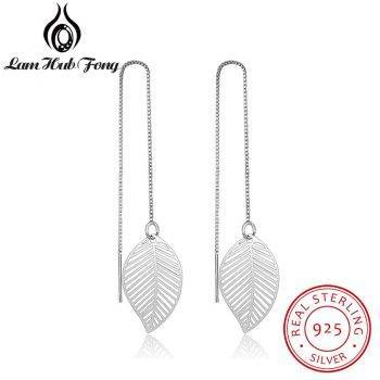 925 Sterling Silver Leaf Earrings for Women Girls Long Chain Tassel Drop Earring Brand Wedding Party Jewelry (Lam Hub Fong) Earrings Wedding & Engagement Jewelry